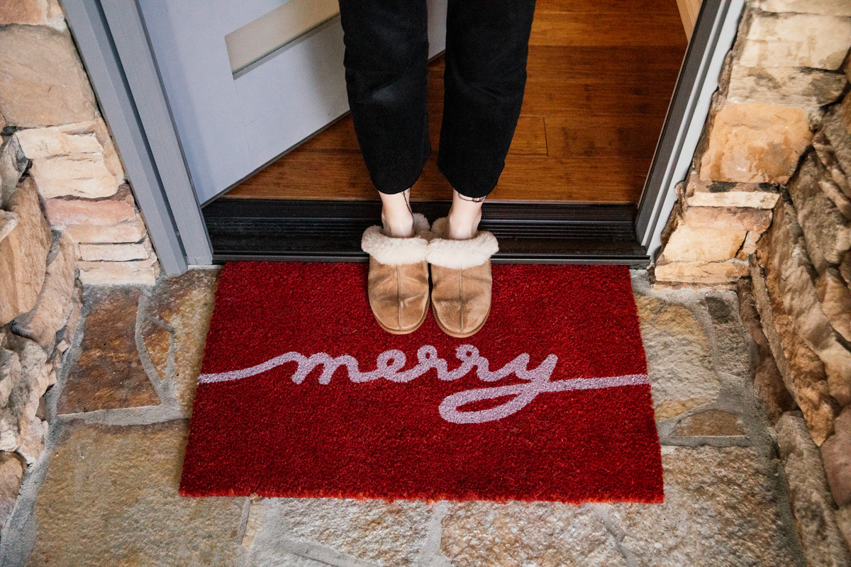 Outside Holiday Decor of merry doormat