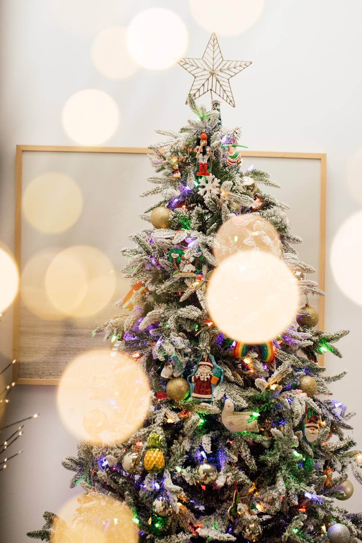 Indoor Holiday decor of lit Christmas tree
