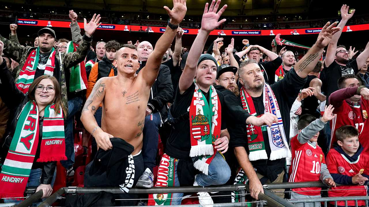 Hungarian fans at Wembley for the World Cup qualifier against England.